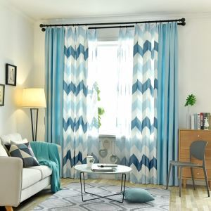 Nordic Semi Blackout Curtain Wavy Pattern Printed Curtain Living Room Curtain (One Panel)