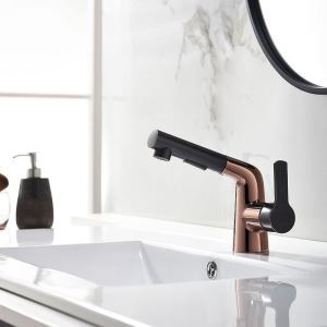 Pull Out Bathroom Sink Faucet Contemporary Creative Basin Tap Chrome/Black/Rosy Gold