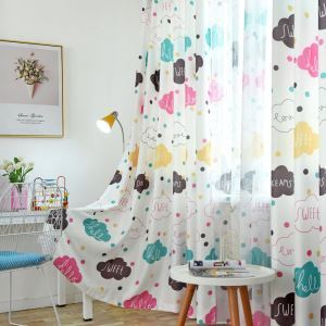 Cartoon Semi Blackout Curtain Cloud Pattern Printed Curtain Kids Room Curtain (One Panel)