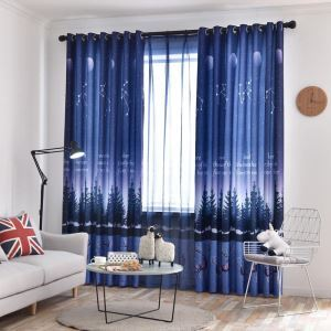 Nordic Semi Blackout Curtain Starry Night Printed Curtain Living Room Curtain (One Panel)