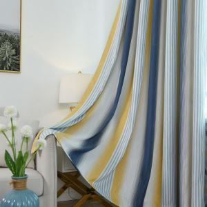 Modern Simple Blackout Curtain Stripes Pattern Curtain Bedroom Curtain (One Panel)