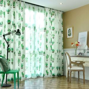 Modern Semi Blackout Curtain Green Plant Printed Curtain Living Room Curtain (One Panel)