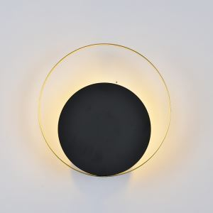 Modern Style LED Wall Light Black Circular Wall Sconce Creative Lamp Bedside Hallway Lighting QM1813