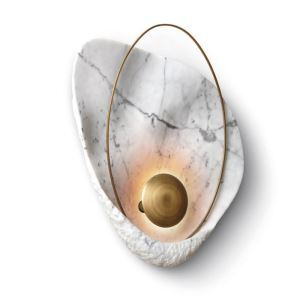Modern LED Wall Light Marble Texture Wall Lamp Shell Shape Sconce Bedside Hallway Lighting QM1816