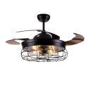 Farmhouse Ceiling Fan with Light Black QM8139