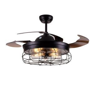 Modern Retro Ceiling Fan Light Invisible Retractable Chandelier Fan Light With Remote Control Living Room Lamp QM8139