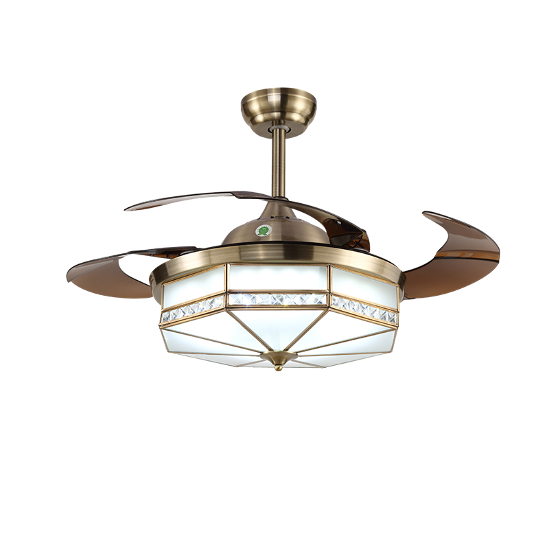 Retro Ceiling Fan With Led Light Invisible Retractable Remote Control Qm8017