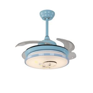 Modern LED Ceiling Fan Light Invisible Retractable Chandelier Fan Light With Remote Control Kids Room Lamp QM8101