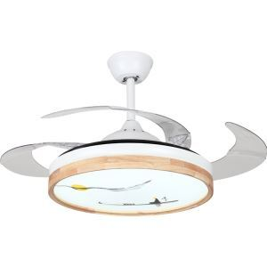 Modern LED Ceiling Fan Light Invisible Retractable Chandelier Fan Light With Remote Control Living Room Lamp QM8172