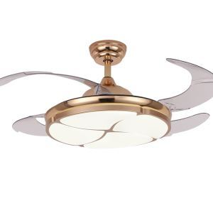 Modern LED Ceiling Fan Light Invisible Retractable Chandelier Fan Light With Remote Control Living Room Lamp QM8167