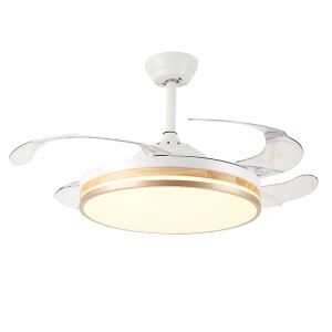 Modern LED Ceiling Fan Light Invisible Retractable Chandelier Fan Light With Remote Control Living Room Lamp QM8176