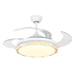 Modern LED Ceiling Fan Light Invisible Retractable Chandelier Fan Light With Remote Control Living Room Lamp QM8175