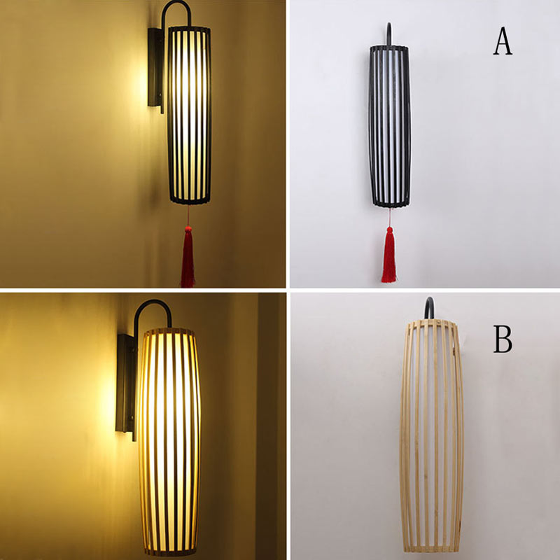Classical Bamboo Wall Sconce Southeast Asian Wall Light With Tassels Hallway Decorative Lighting