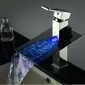 Waterfall LED Single Faucet Mixer Bathroom Sink Color Changing Tap No Battery Needed