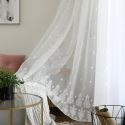 Breathable Sheer Curtain White All-match Embroidery Curtain Living Room Curtain (One Panel)