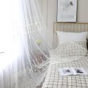 Simple Sheer Curtain White All-match Embroidery Curtain Living Room Curtain (One Panel)