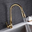 Modern Gold Pullout Kitchen Faucet Swivel Spout Kitchen Tap