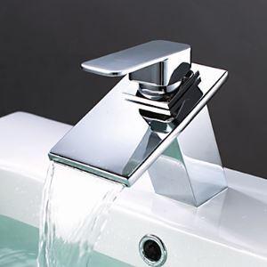 Brass Waterfall Bathroom Sink Faucet Modern Chrome Basin Tap