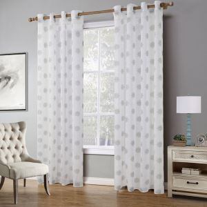 Modern Ready Made Curtain Snowflake Pattern Sheer Curtain Living Room Curtain (One Panel)