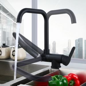 Modern Black Kitchen Faucet Rotatable Kitchen Tap Single Handle