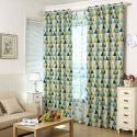 Nordic Geometry Curtain Green Triangle Curtain Living Room Bedroom Fabric(One Panel)