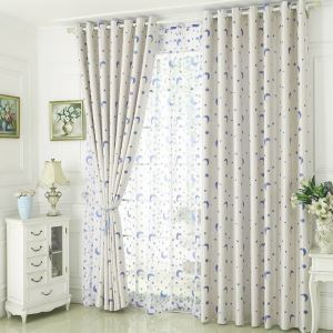 Moon and Star Curtain Modern Jacquard Curtain Nursery Kid's Room Fabric(One Panel