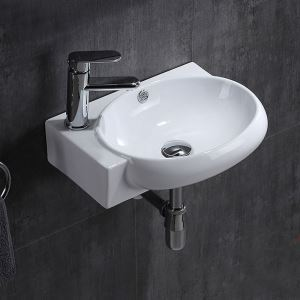 Oval Single Sink White Ceramic Basin Wall Mounted Vessel Sink Without Faucet