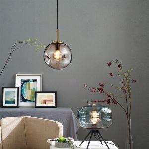 Nordic Glass Pendant Light Round Ball Lamp Home Lighting Living Room Dining Room Bedside Lamp LZ142