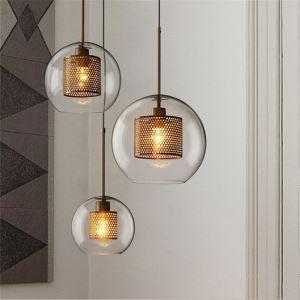Nordic Pendant Light Glass Home Lighting Round Ball Shape Lamp Dining Room Living Room Bedside Lamp PL016545