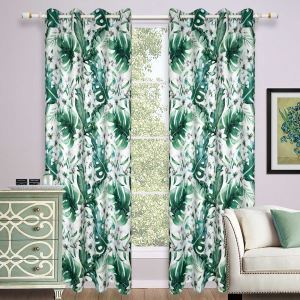 Nordic Ready Made Curtain Leaf Printed Curtain Living Room Bedroom Curtain (One Panel)