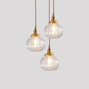 Modern Glass Pendant Lighting Pumpkin Shape Lamp Dining Room Living Room Hallway Light NTDBL0221