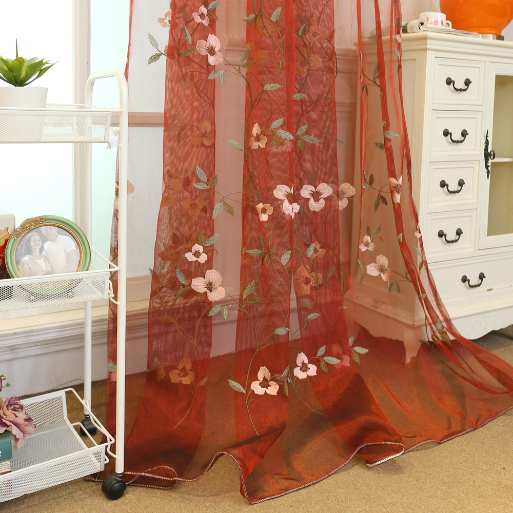 Pastoral Floral Embroidery on White Lace Sheer Curtain Panel,White Brown Europe