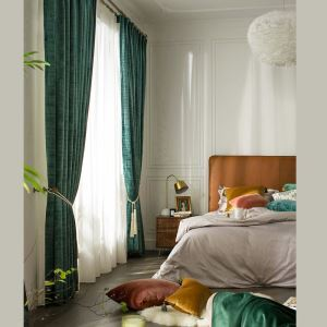 Velvet Blackout Curtain Malachite Green Solid Color Curtain Bedroom Curtain (One Panel)