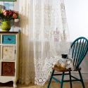 Nordic Sheer Curtain Hollow Breathable Embroidery Curtain Living Room Curtain (One Panel)
