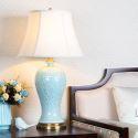 Modern Table Lamp Simple Lotus Pattern Light Ceramic Base Desk Lamp Living Room Bedroom Light HY053