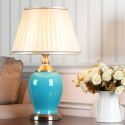 Middle Century Teal Table Lamp with Ceramic Base Living Room HY120