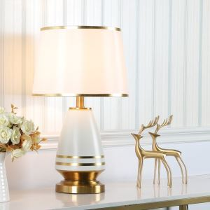 Contemporary Table Lamp Simple Electropalting Lamp Ceramic Base Lighting Living Room Bedroom Study Light