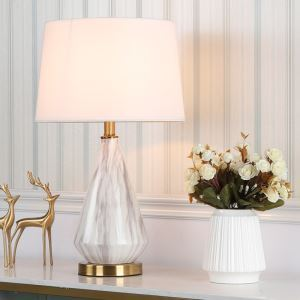 Modern Table Lamp Marble Texture Desk Light Simple Ceramic Base Lamp Living Room Bedroom Study Light HY117