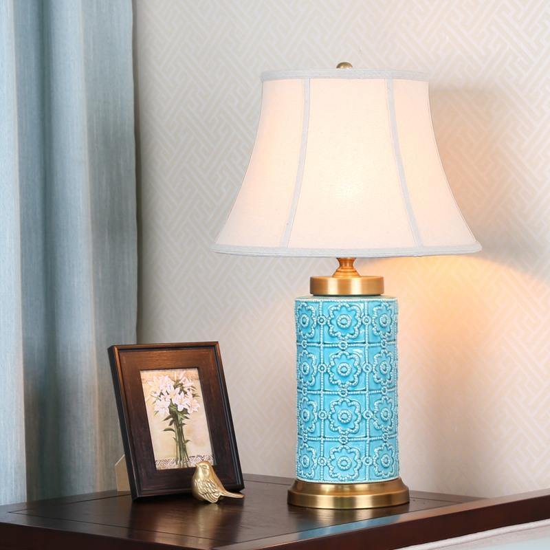 Contemporary Table Lamp Simple Emboss Light Creative Ceramic Base