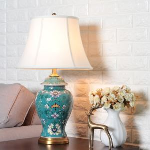 Contemporary Table Lamp Emboss Glaze Lamp Ceramic Base ...