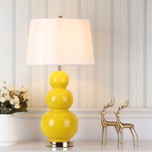 Contemporary Table Lamp Creative Gourd Shape Base Lamp Ceramic Light Study Bedroom Lighting HY102