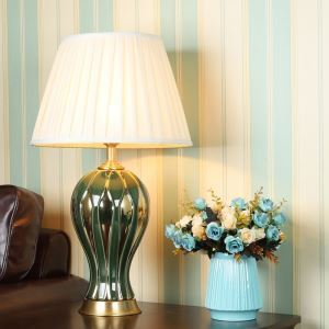 Modern Table Lamp Simple Electroplating Lamp Ceramic Base Light Living Room Bedroom Light HY110