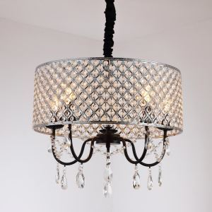 Modern Crystal Pendant Light Luxurious Chandelier Round Lamp with 5 Lights Living Room Lamp QM881365
