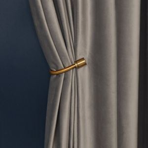 Luxury Blackout Curtain Retro Solid Color Curtain Living Room Curtain (One Panel)