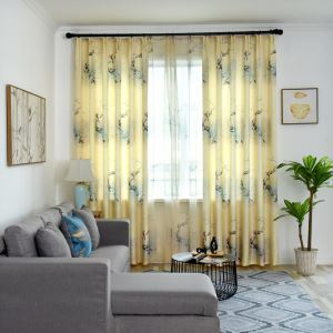 Semi Blackout Curtain Bird Flower Printed Curtain Living Room Bedroom Curtain (One Panel)
