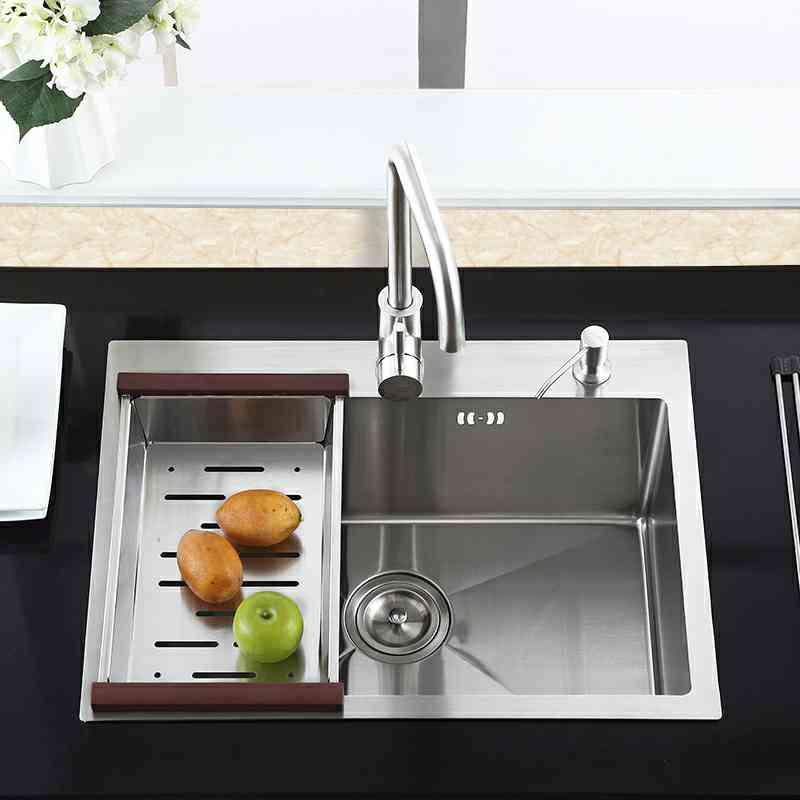 Single Bowl Kitchen Sink TopMount Stainless Steel Sink with Drain