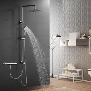 Thermostatic Shower Faucet Rainfall Chrome Shower System Wall Mounted