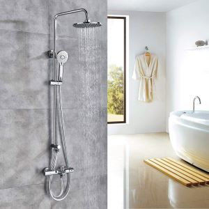 Thermostatic Shower Faucet Modern Rainfall Shower System With Tub Tap