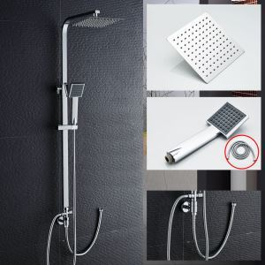 Modern Rainfall Shower Faucet Chrome Shower Tap Hand And Head Shower (Faucet Body Not Included)