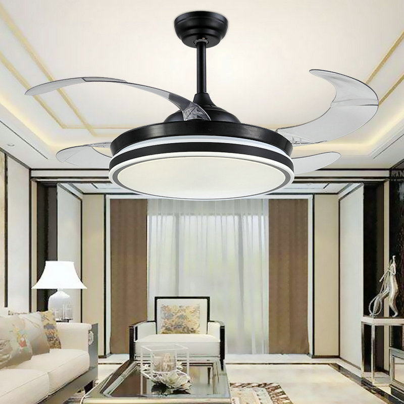 Modern Led Ceiling Fan Light Invisible Retractable
